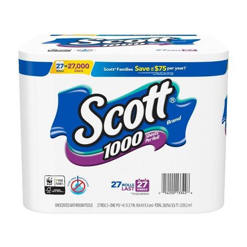 Bath Tissue Scott 1000 Sheetsper Roll Toilet Paper 27 Count