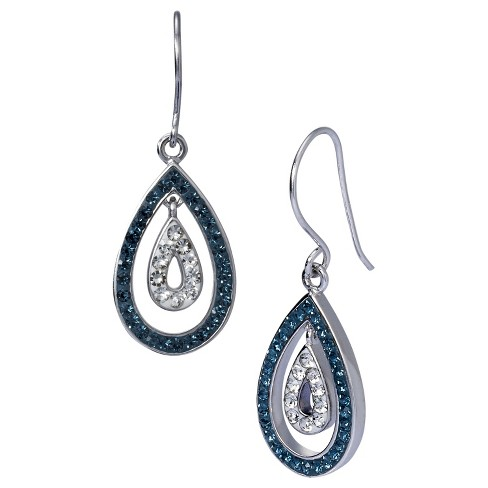 Dangle Earrings with Crystals - Blue - image 1 of 1