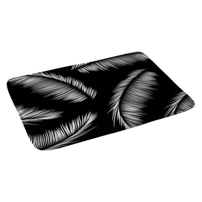 Kelly Haines Monochrome Palm Leaves Bath Rugs and Mats Black 24  x 36  - Deny Designs