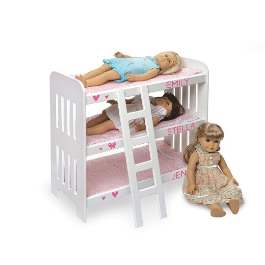 Badger Basket Triple Doll Bunk Bed with Ladder, Bedding, and Free Personalization Kit - Pink Gingham image number null