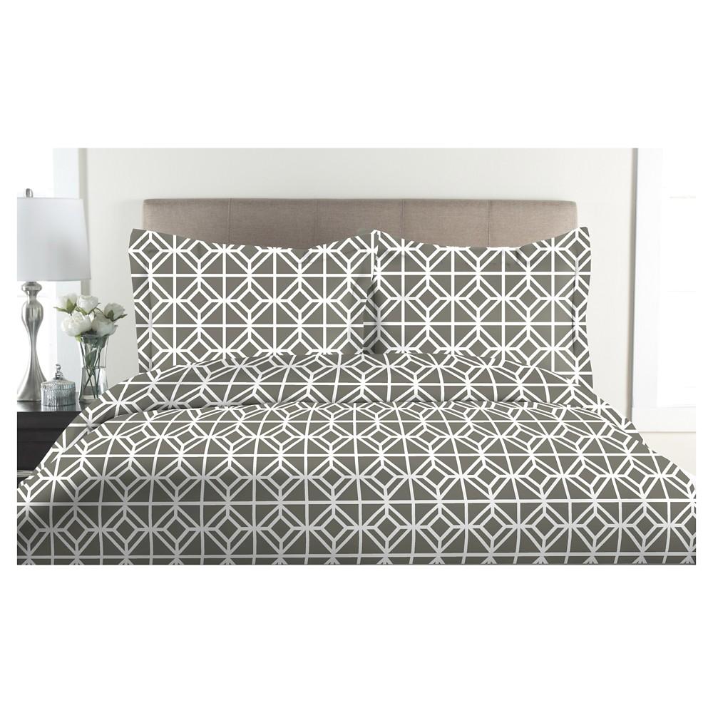 Image of 300tc St. Charles 100% Cotton Print Duvet Set (Full/Queen) Ash (Grey)
