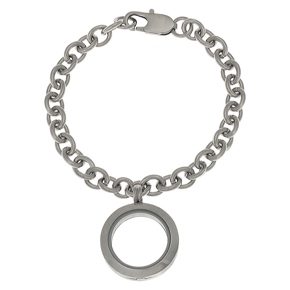 Women's Treasure Lockets Stainless Steel Rolo Bracelet with Round Locket - Silver (7)