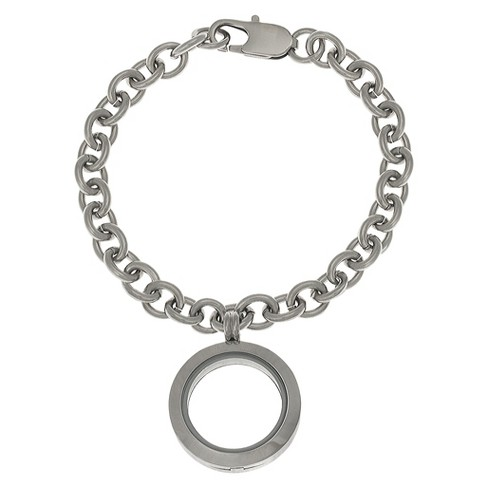 "Women's Treasure Lockets Stainless Steel Rolo Bracelet with Round Locket - Silver (7"") - image 1 of 1"