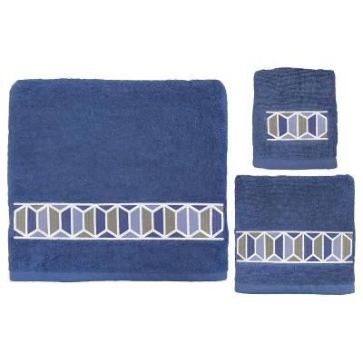 3pc Hexagon Border Bath Towel Sets Blue - Allure Home Creation