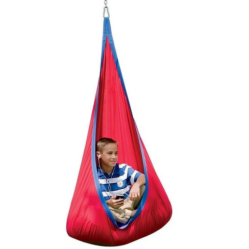 Hearthsong Hugglepod Deluxe Indoor Outdoor Sturdy Cotton Canvas Hanging Chair For Kids With Inflatable Cushion Target