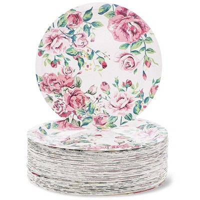 Blue Panda 80-Count Vintage Floral 9 Inch Disposable Paper Plates for Tea Party, Bridal and Baby Showers