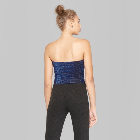 8a18bd640f Women s Glitter Tube Top - Wild Fable™ Blue M   Target