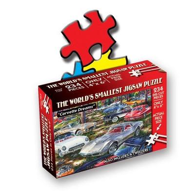 TDC Games World's Smallest Die Cut Puzzle - Corvette Dreams - Measures 4 x 6 inches when assembled - Includes Tweezers