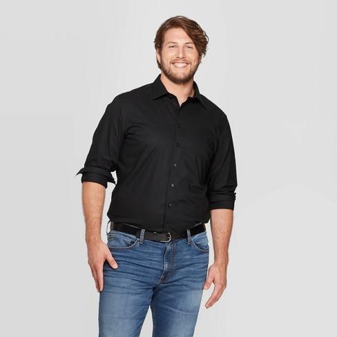 Men's Tall Standard Fit Non-Iron Dress Long Sleeve Button-Down Shirt - Goodfellow & Co™ Black MT