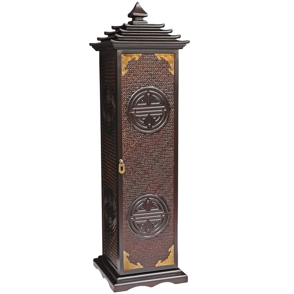 "Image of ""Oriental Furniture 32"""" Pagoda Cd/Dvd Stand Rosewood, Brown"""