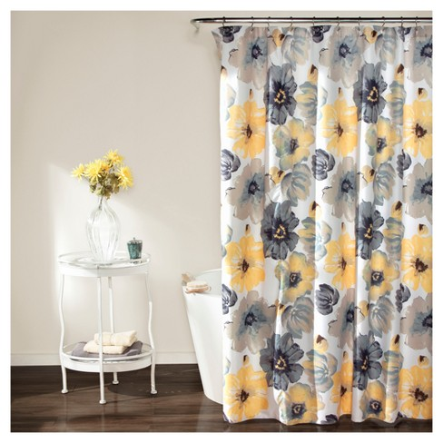 Leah Floral Shower Curtain Yellow/ Gray - Lush Decor® - image 1 of 1