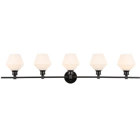 Elegant Lighting Ld2325 Gene 5 Light 47 Wide Bathroom Vanity Light With Frosted Glass Black Target