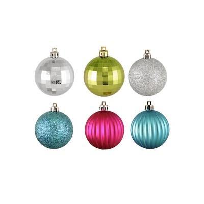 "Northlight 100ct Shatterproof Jewel Tone 3-Finish Christmas Ball Ornament Set 2.5"" - Green/Pink"