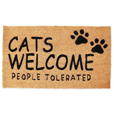 Juvale Cats Welcome People Tolerated Doormat (Coconut Coir)