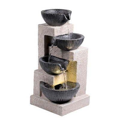 """Alpine 14"""" Cascading Bowl Tabletop Fountain with LED Lights Gray"""