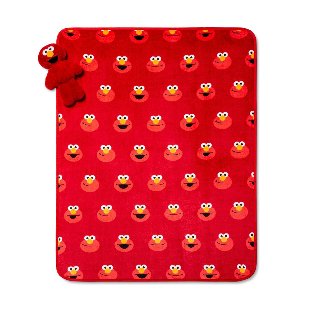 Image of Sesame Street 2pc Elmo Throw & Pillow Set Red