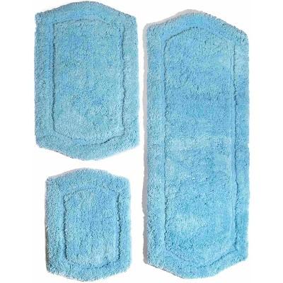3pc Paradise Memory Solid Foam Bath Rug Set Blue - Chesapeake
