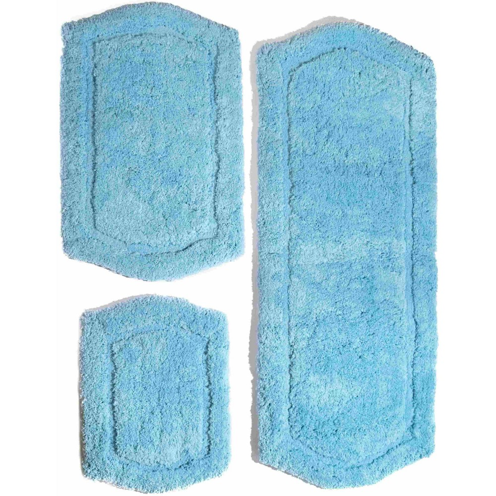 Image of 3pc Paradise Memory Solid Foam Bath Rug Set Blue - Chesapeake