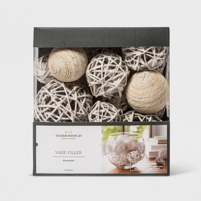 Unscented Jute Rope And Twig Balls Vase Filler White - Threshold™