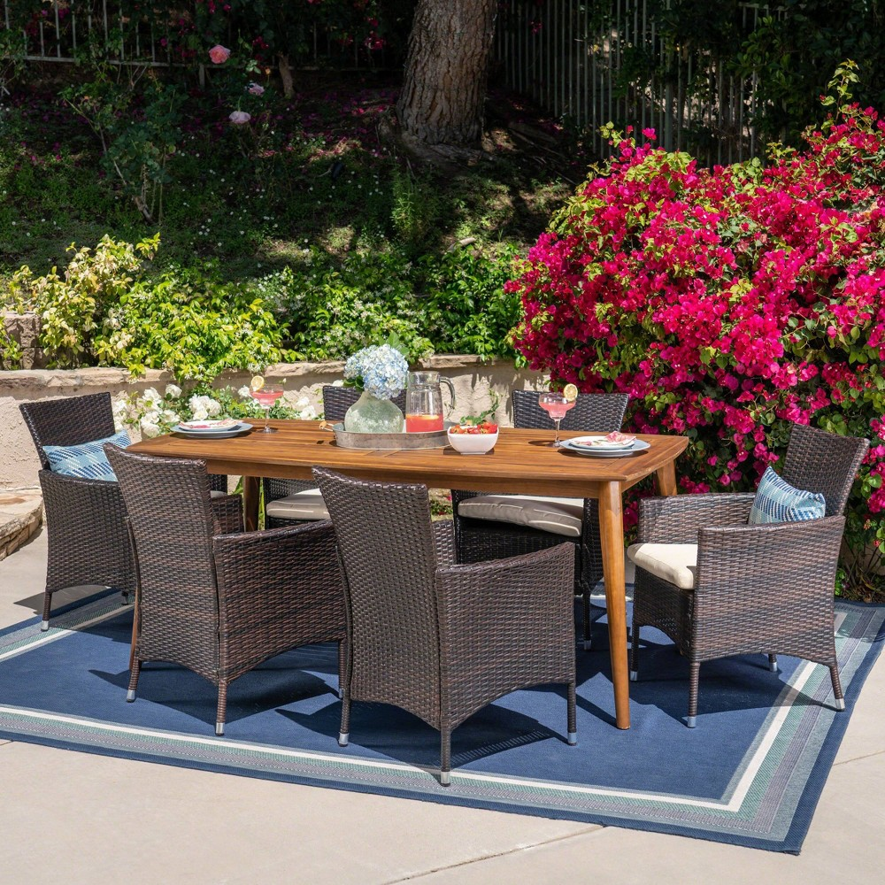 Jaxon 7pc Wicker and Acacia Wood Dining Set - Teak (Brown) - Christopher Knight Home