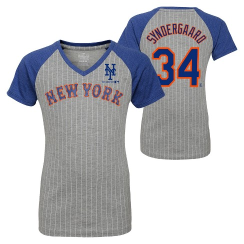 premium selection 24646 30f4e New York Mets Girls' Short Sleeve Pinstriped V-Neck Noah Syndergaard Jersey  T-Shirt - Gray L
