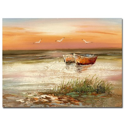 'Florida Sunset' by Rio Ready to Hang Canvas Wall Art (24 x32 )