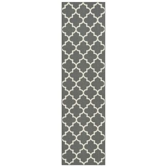 2'X7' Runner Fretwork Tufted Rug Trellis Grey - Threshold™