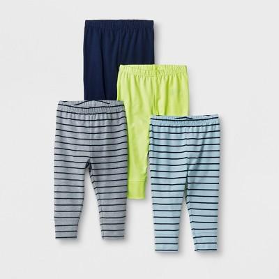 Baby Boys' 4pk Leggings Pants - Cat & Jack™ Blue/Yellow 3-6M