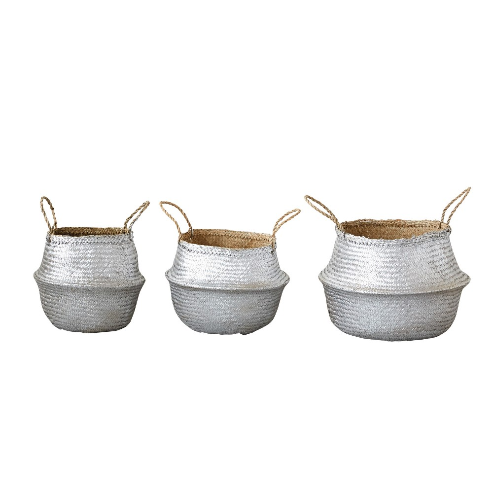 "Image of ""15-3/4"""", 13-3/4""""& 10"""" Round Seagrass Collapsible Baskets, Silver, Set of 3"""
