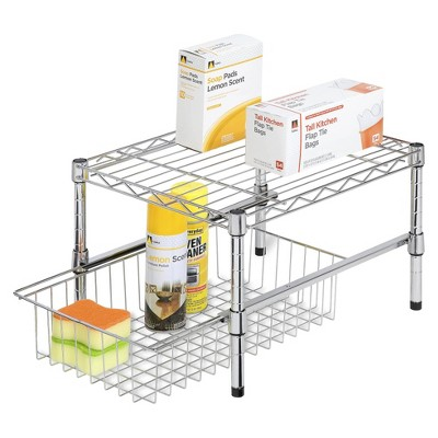 Honey-Can-Do Adjustable Shelf w/ Basket Cabinet Organizer - Silver