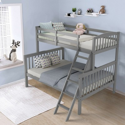 Costway Twin over Full Bunk Bed Rubber Wood Convertible with Ladder Guardrail Espresso\Grey