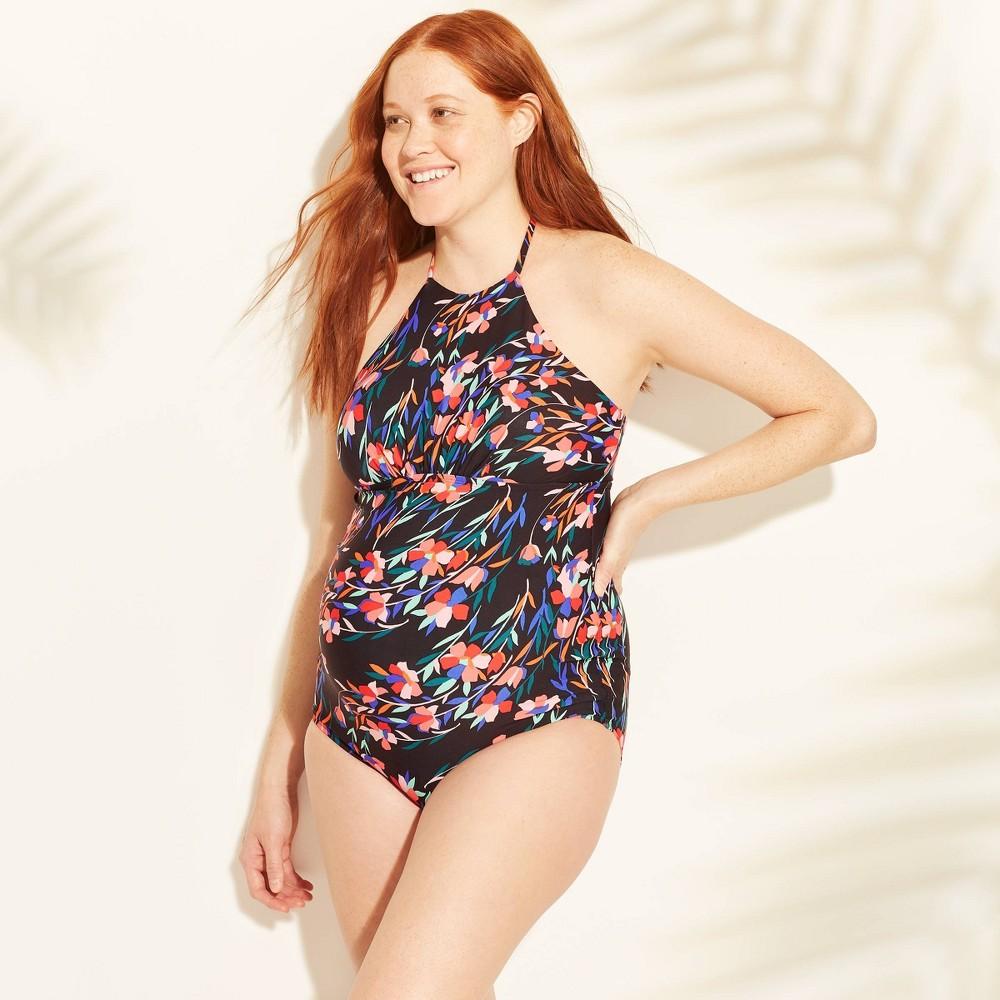 Maternity Floral Print Sleeveless High Neck One Piece Swimsuit - Sea Angel Black XL, Women's
