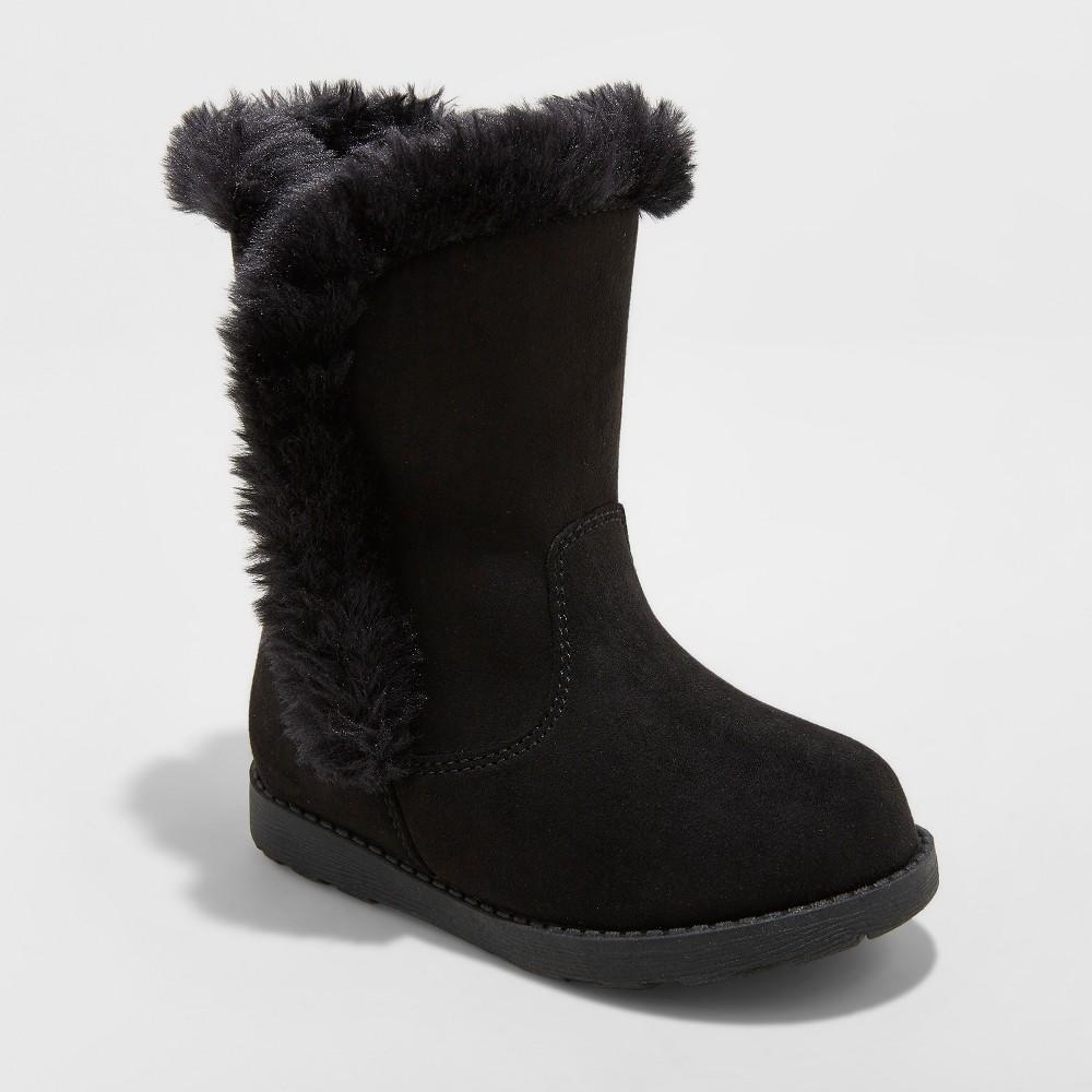 Toddler Girls' Katrina Fleece Fashion Boots - Cat & Jack Black 7