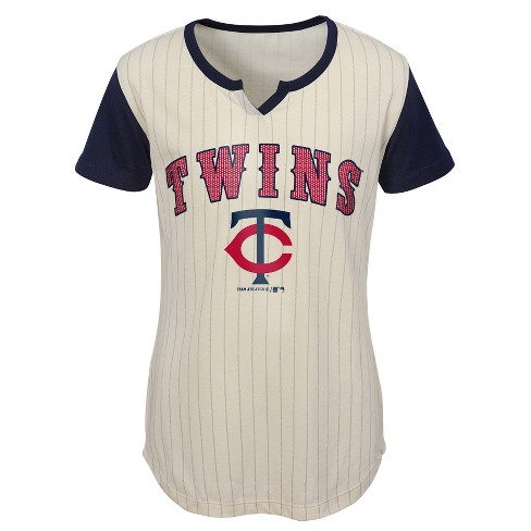 MLB Minnesota Twins Girls' In the Game Cream Pinstripe T-Shirt - image 1 of 1