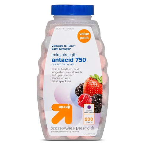 Extra Strength Antacid Assorted Berry Chewable Tablets - 200ct - Up&Up™ (Compare to Tums Extra Strength) - image 1 of 1