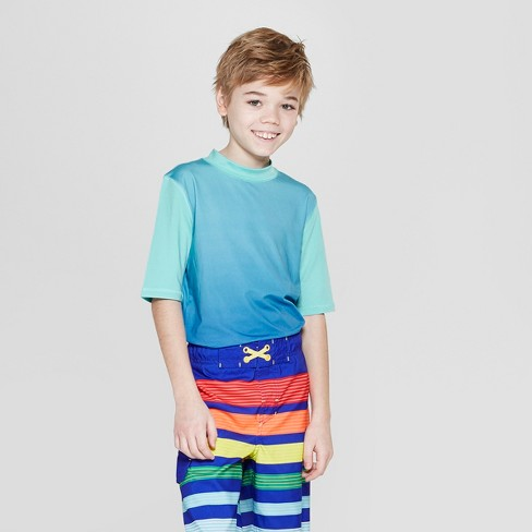 Boys' Short Sleeve Gradient Rash Guard - Cat & Jack™ Blue - image 1 of 3