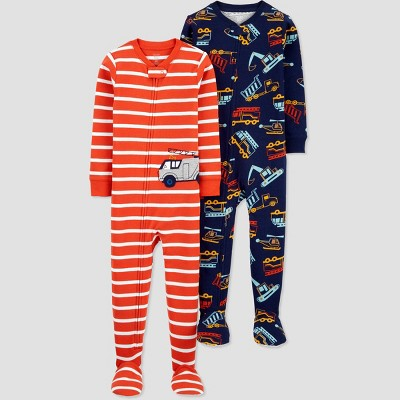 Baby Boys' 2pk Construction/Firetruck Footed Pajama - Just One You® made by carter's Red 9M