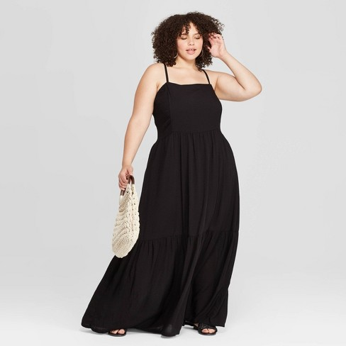 Women\'s Plus Size Sleeveless Square Neck Tiered Maxi Dress - Universal  Thread™ Black