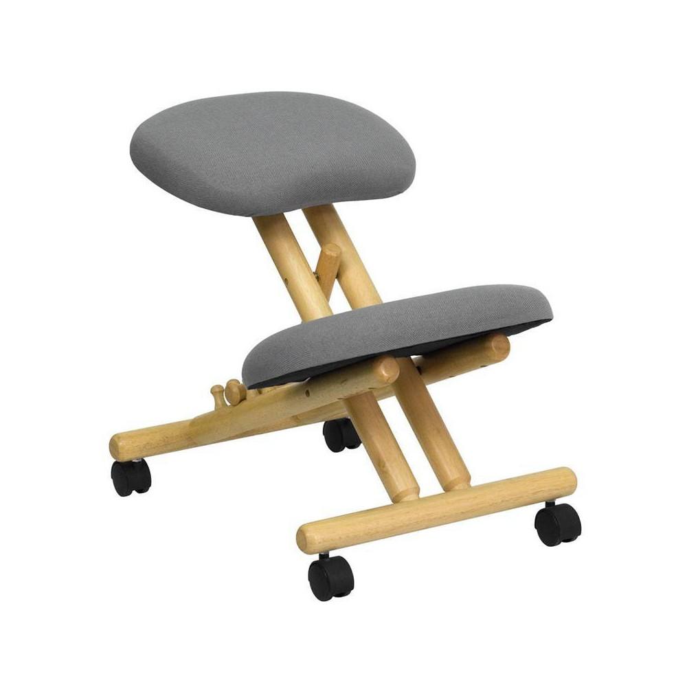 Buy Mobile Wooden Ergonomic Kneeling Chair in Gray Fabric - Flash Furniture