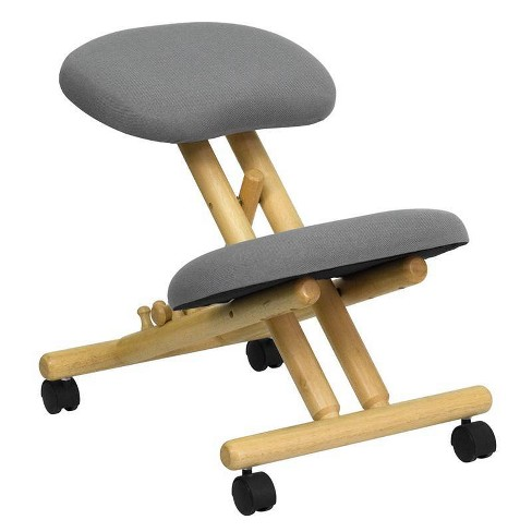 Mobile Wooden Ergonomic Kneeling Chair in Gray Fabric - Flash Furniture - image 1 of 4