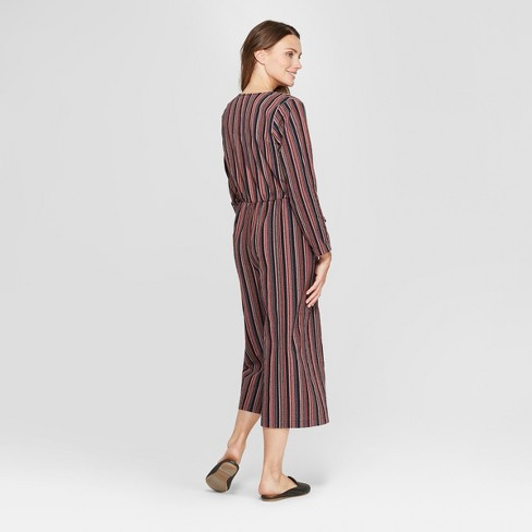 a40766abaaf Women s Long Sleeve Striped Tie Front Jumpsuit - Universal Thread™ Navy    Target