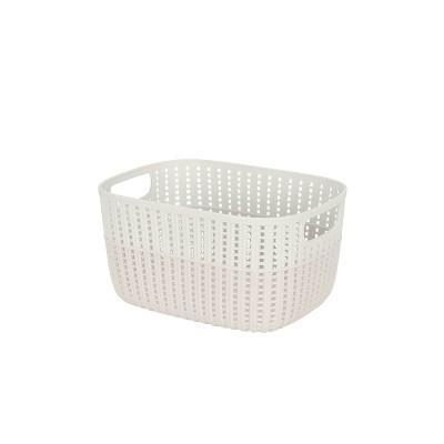 Simplify Medium 2 Tone Decorative Storage Basket Gray