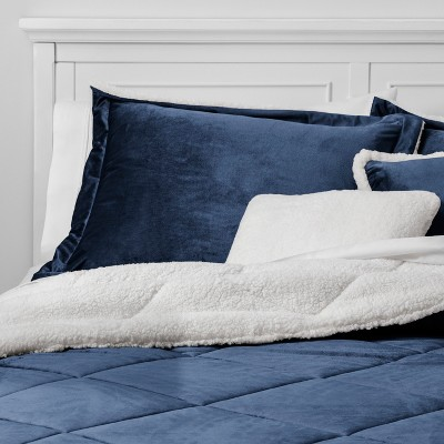 5pc King Stockholm Velvet Reverse to Sherpa Comforter Set Indigo