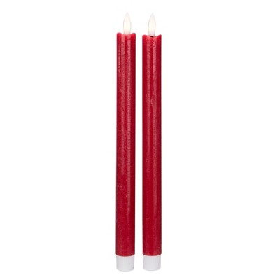 Northlight Set 2 Red Flameless LED Taper Christmas Candles 11""