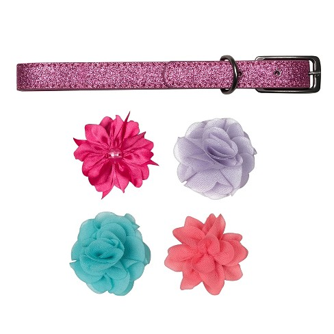 Bow & Arrow Pink Glitter with Flower Accessories Dog Collar - M - image 1 of 1