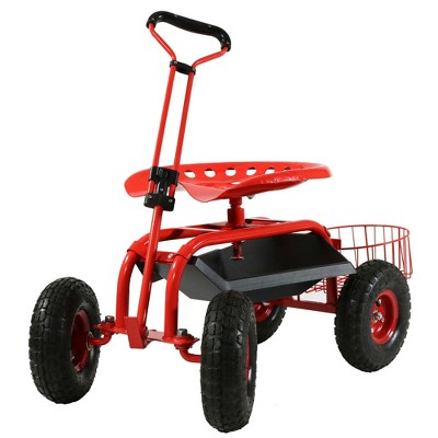 Rolling Garden Cart with Extendable Steering Handle, Swivel Seat and Planter Basket - Red - Sunnydaze Decor