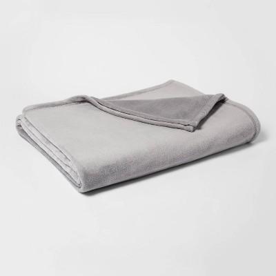 Full/Queen Micromink Bed Blanket Gray - Room Essentials™