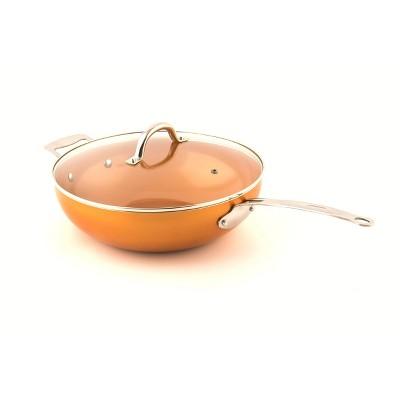 """MasterPan 12"""" Copper Tone Ceramic Non-Stick Chef's Wok with Glass Lid"""
