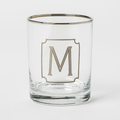 13.3oz Monogram Double Old-Fashioned Glass M - Threshold™