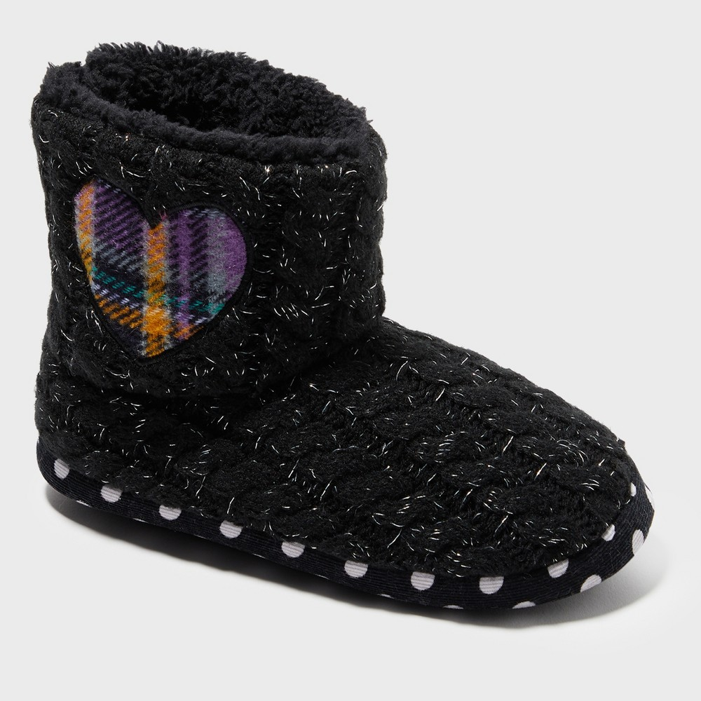 Image of Girls' Dearfoams Bootie Slippers - Black 11-12, Girl's